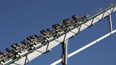 summer vacation : People On Roller Coaster On Summer Vacation Stock Footage