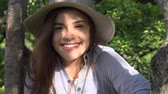 smiling girl : Smiling Teen Girl At Park Stock Footage