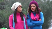 camarada : Girls Happiness And Friendship Cold Weather Stock Footage