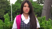 unemotional : Unemotional Latina Girl Student Stock Footage