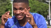 Goofy Black Male Athlete Funny Faces Stock Footage