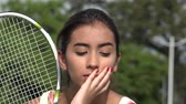 unemotional : Serious Unhappy Teen Female Tennis Player Stock Footage