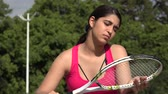 Serious Athletic Female Teenage Tennis Player