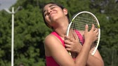 Happy Athletic Female Teenage Tennis Player