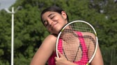 Hopeful Athletic Female Teenage Tennis Player Стоковые видеозаписи