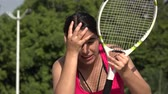 Anxious Athletic Female Teenage Tennis Player And Stress Стоковые видеозаписи