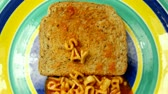 filé : say hello to my little friend written with alphabetti spaghetti on toast