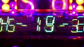 nixie : a collection of led and lit-up clocks and timers in the same shot Stock Footage