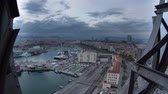 metropolitan : Day to night timelapse of the beautiful barcelona skyline shot from a high vantage point