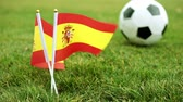 football field : Flag of Spain and football ball on the grass. Spanish flag and soccer ball.