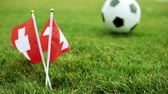 football field : Swiss flag and soccer ball. Flag of Switzerland and football ball on the grass.