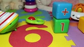 playground : Childrens room, toys on the floor. Stock Footage