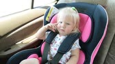 seat belts : A small child is sitting in a car seat. child is traveling in the car.