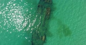 wreck dive : Aerial photography, a sunken ship on the sea floor.