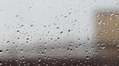 수분 : Autumn, bad weather, melancholy. Rain drops on the glass.