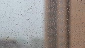 수분 : Autumn, view from the window, a drop of rain on the glass.