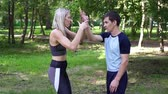 verdediging : Woman engaged in martial arts. Womens self-defense, thorns, sport. Stockvideo