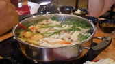 egg cooker : Shabu suki hot pot Stock Footage
