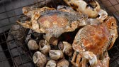 pieczeń : Grilled Shrimp, shellfish and crab on stove grille , cooking barbecue seafood.