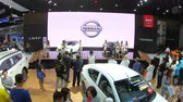 ретро стиле : Bangkok, Thailand - December,10  2018 : People visit new car model at Thailand International Motor Expo 2018 MOTOR EXPO 2018 on Dec 10,2018 in Bangkok, Thailand