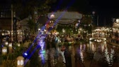cena urbana : Bangkok, Thailand - December 16, 2018: People visit and dine at chocolate ville park and restaurant in Bangkok,Thailand.The chocolate ville park and restaurant decoration with Christmas festival. Stock Footage