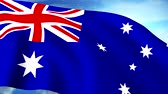united states : Australian Flag Closeup Waving Against Blue Sky Seamless Loop CG Stock Footage