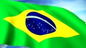 united states : Brazilian Flag Closeup Waving Against Blue Sky Seamless Loop CG