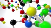 microcosmos : Molecule ball and stick model fly through atoms chemistry biology science tech Stock Footage