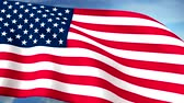waving : USA US Flags Closeup Waving Against Blue Sky CG Long HQ Seamless Loop Stock Footage