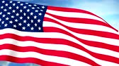 wind : USA US Flag Closeup Waving Against Blue Sky Seamless Loop CG