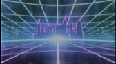 play video game : Retro 80s VHS tape video game intro landscape vector arcade wireframe city 4k