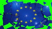 recession : EU collapse flag Europe European Union 4k