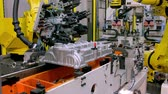 the irony : Robotic Arm production lines Stock Footage