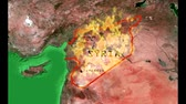 contrastes : This is a clip representing the difficulties of Syrian civil war. It is a zoom on a map of middle East and Syria in particular inflamed by the civil war