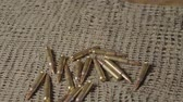 verdediging : A lot of cartridges for a carbine on a camouflage sniper mesh