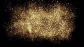 cosmic : Animation of gold glitter powder splash background. Festive golden scattered dust particles. Magic mist glowing. Stylish fashion black backdrop. Glamour Abstract Background. Stock Footage