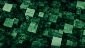 кубический : Abstract futuristic cubic surface 3D animation loop. Bright green voxel grid particle blocks moving up and down in seamless waves. Technology, information and future concept background.