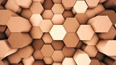 displacement : Abstract modern hexagonal surface 3D animation loop. Orange voxel grid particle honeycombs moving up and down in seamless waves. Technology, information and future concept in loopable background.