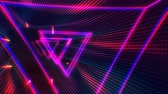 red led : Futuristic HUD triangle tunnel seamless VJ loop. Neon motion graphics for LED, TV, music, show, concerts. Bright retro cosmic night club 3D animation with data flow concept for speed and connection