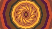 törzsi : Colorful warm brown kaleidoscope seamless 3D animation. Beautiful bright mandala fractal ornament for yoga, clubs, shows. Zoom in geometric patterns with circles, rectangles design loop. Stock mozgókép
