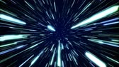 estrondo : Hyperspace jump through the stars to a distant space seamless loop. Speed of light, neon glowing rays in motion. Lightspeed space journey through time continuum. Warp journey in wormhole 3D animation