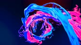 Abstract bright colorful liquid vortex flow with splashes slow motion. Waving water surface close up motion with air bubbles isolated on dark blue background with alpha channel matte. 4k 3D animation