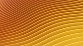 Rows of colorful golden stripes waving and swaying seamless loop. Geometric abstract background with bright strips rippling 3D animation. Vibrant looping motion graphics backdrop in 4k