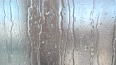 condensed : Flowing down water drops on glass. Stock Footage
