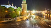 second avenue : The evening view on traffic along Kremlin Embankment from Patriarshy Bridge Moscow Russia.