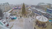 best : KIEV, UKRAINE - JANUARY 4, 2017: The bell tower of St Sophia Cathedral is the best viewpoint to enjoy Christmas festivity with main city Christmas Tree, Market stalls, carousels, on January 4 in Kiev.
