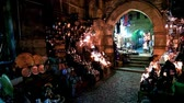souk : CAIRO, EGYPT - DECEMBER 21, 2017: The dark corridor of medieval Sel Sela Gate in Khan El Khalili Bazaar is perfect place for Arabian lights stores with multitude of lamps, on December 21 in Cairo
