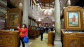 bank : CAIRO, EGYPT - DECEMBER 23, 2017: Interior of medieval St Sergius and Bacchus (Abu Serga) Church, decorated with inlaid altar, icons, marble columns, located in Coptic quarter, on December 23 in Cairo