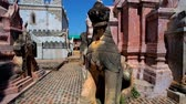 inlay : The unique architecture of ancient Kakku Pagodas Buddhist site with stone and brick stupas, decorated with carved patterns and sculptures of animals and mythical creatures, Taunggyi, Myanmar.