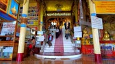 inlay : PINDAYA, MYANMAR - FEBRUARY 19, 2018:  The entrance hall with stairs to Pindaya cave - the ancient Buddhist pilgrimage site in natural cave, on February 19 in Pindaya